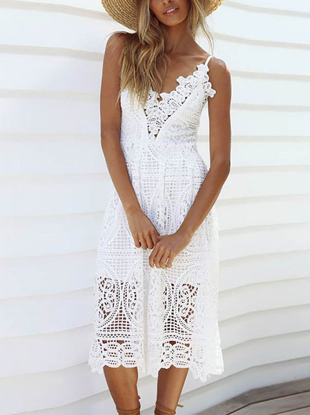 Sexy Sling Sleeveless Hollow Out Lace Mini Dress