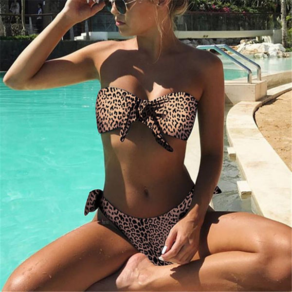 Sexy Print Bikini Split Swimsuit