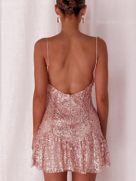 Sexy Ruffled Sequins Sling Bare Back Mini Dresses