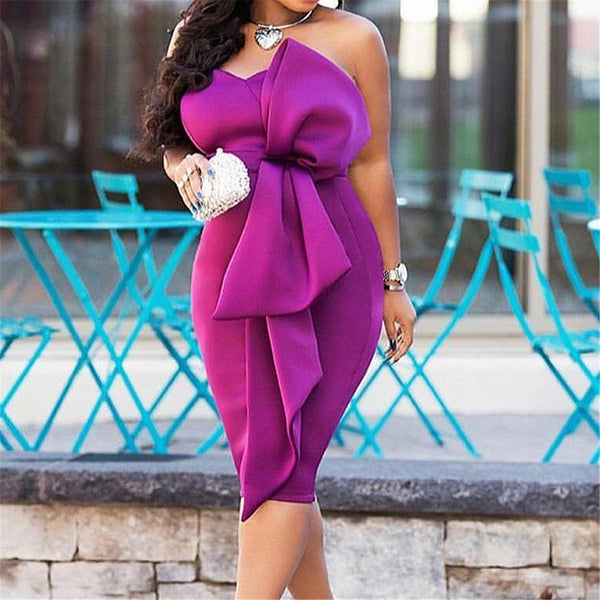 Sexy Butterfly Knot Pure Color Slimming Bodycon Dress