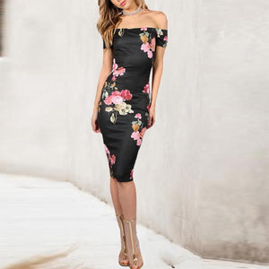 Open Shoulder  Print Bodycon Dresses