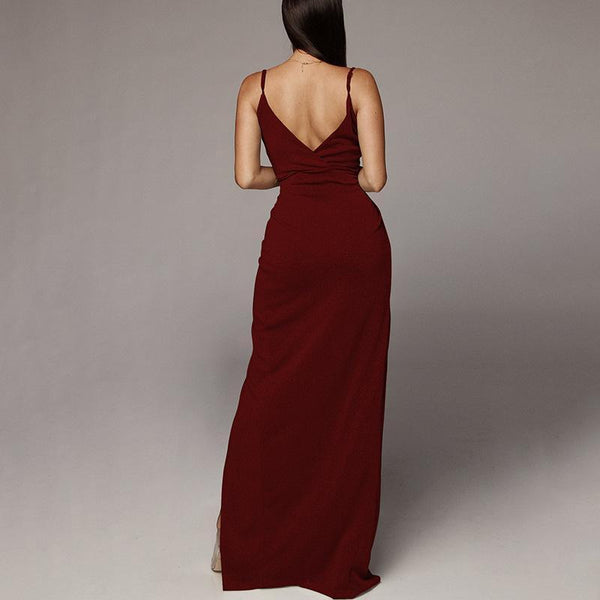 Sexy Deep V   Neck Backless Slim Show Thin Sling Maxi Dresses