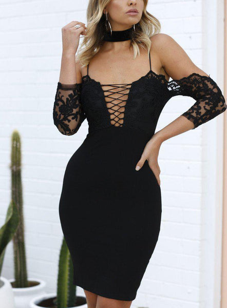 Sexy Off The  Shoulder Deep V Neck Sling Mini Bodycon Dresses