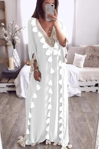 Chic V Collar Loose Fringe Decorated Vacation Maxi Dress