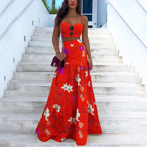 Fashion Sexy Printed Colour Braces High-Waist Dress