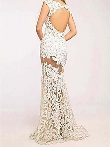 Sexy Lace Hollow Out Sleeveless Evening Dresses