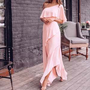 Elegant Sloping Shoulder Wave Pure Colour Maxi Dresses