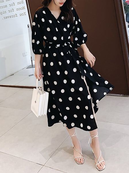 Casual Polka Dot Halflong Sleeve Belted Maxi Dresses