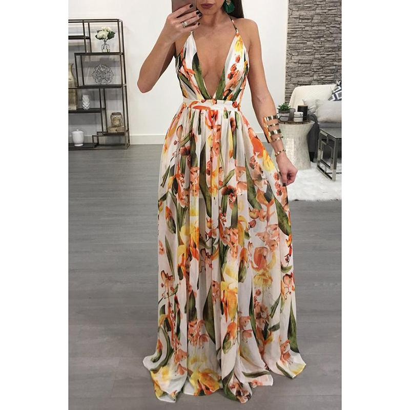 Female Sexy Sling Print Waist Hanging Neck Open-Back Floor Empty Swagger Maxi Dress