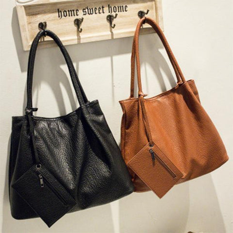 Basic Pu Big Capacity Shoulder Bag