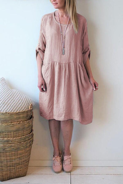 Brief Half Sleeve Plain Casual Dresses