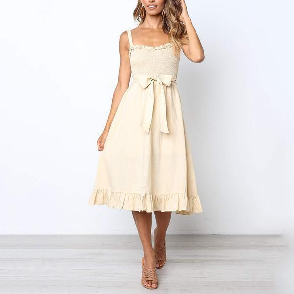 Sexy Solid Color Sling Bow Dress