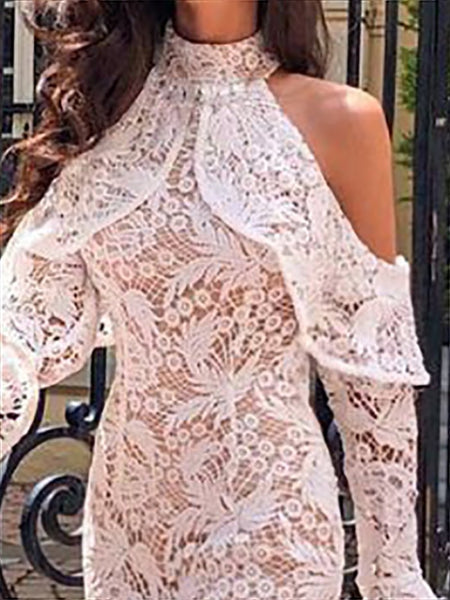 Elegant Lace Hollow Out Off-Shoulder Bodycon Dresses