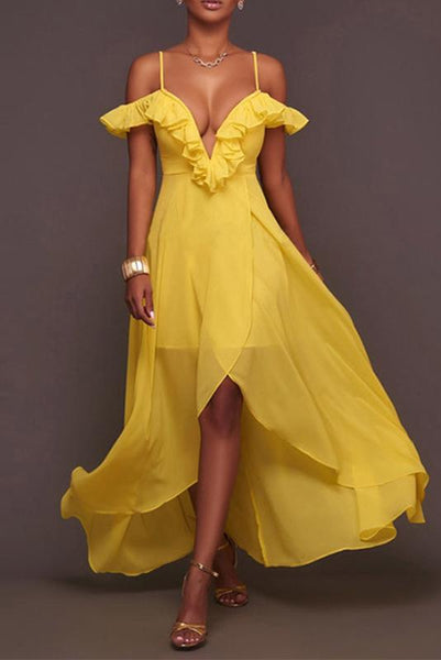 Sexy V Neck Pure Colour Irregular Off-Shoulder Maxi Dresses