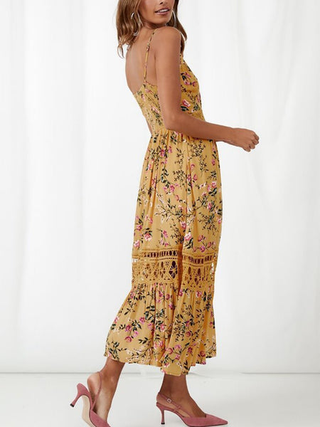 Fashion Lace Splicing Printed Colour Sling Maxi Dresses