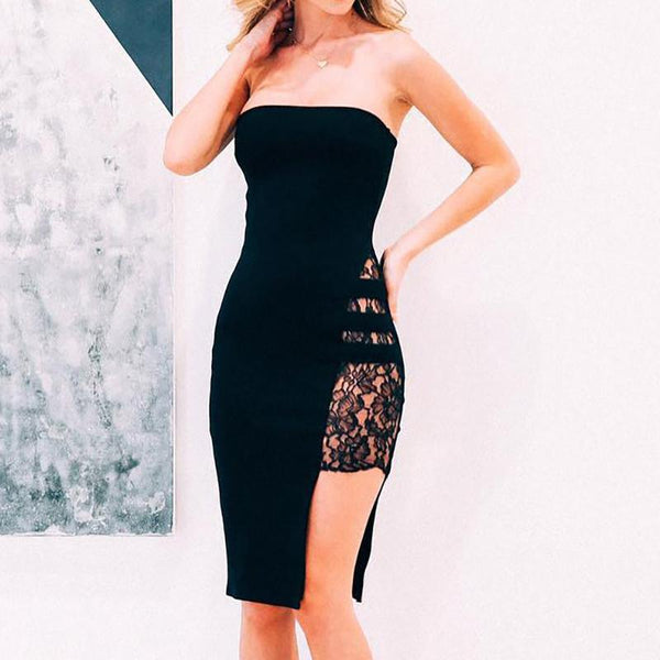 Women's Chest Lace Perspective Leg Root Sexy Bodycon Dress