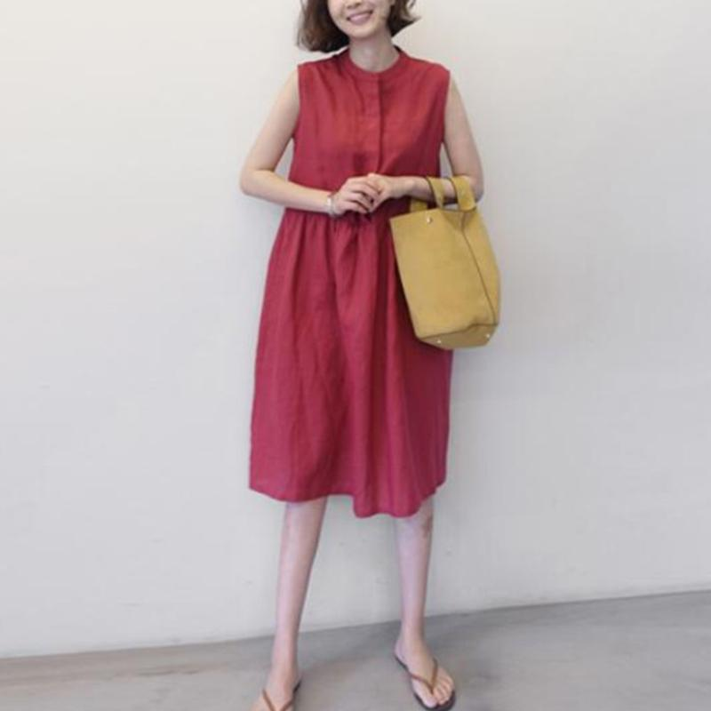 Sexy Stant Collar Solid Color Dress
