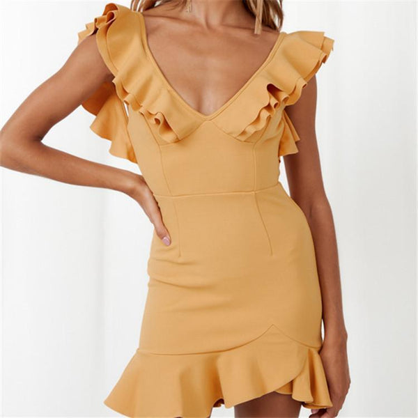V-Neck Sleeveless Solid Color Backless Zipper Sweet Dress