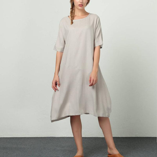 Fashion Sexy Solid Color Round Neck Short Sleeve Dress
