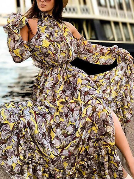 Casual Off-Shoulder Printed Colour Slit Bell Sleeve Elastic Dress