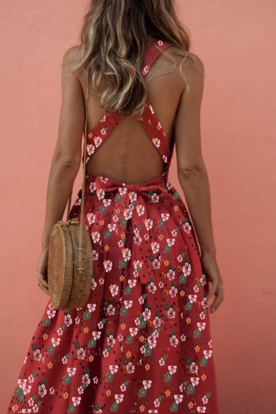 Halter  Backless  Printed  Sleeveless Maxi Dresses