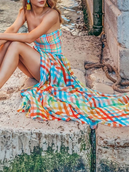 Bohemian Sleeveless Off-Shoulder Bare Back Check Splicing Dress