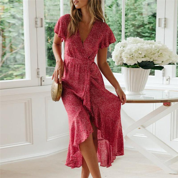 Vacation V Collar Printed Flying Sleeve Frenulum Midi Dress