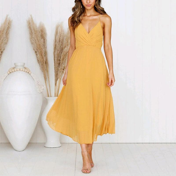 Sexy Solid Color Fashion V-Neck Sling Dress
