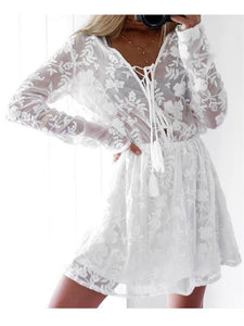 Sexy Silk Embroidered Flower V-Neck Lace Long Sleeve Dresses
