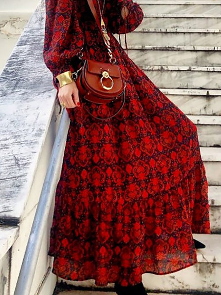 Bohemian V Neck Floral Pattern Long Sleeve High-Waist Dress