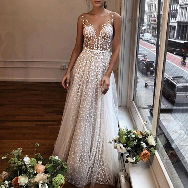 Sexy V-Neck Perspective Evening Dress