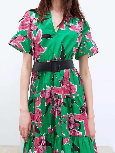 Elegant V Neck Printed Colour Belted Pleated Splicing Short Sleeve Dress