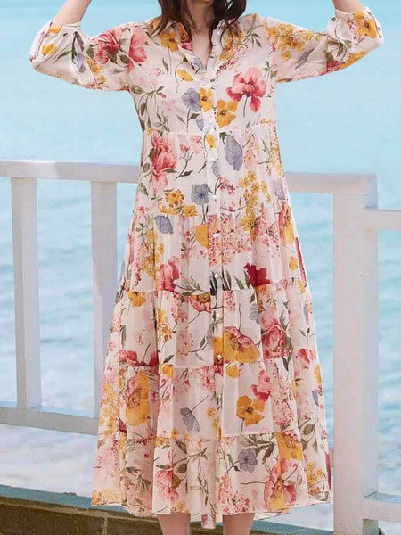 Casual Turndown Collar Pleated Printed Colour Long Sleeve Single-Breasted Dress