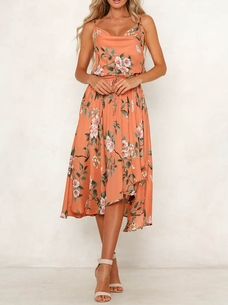 Casual Printed Colour V Neck Bare Back Off-Shoulder High-Waist Dress