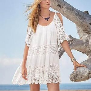 Bohemian Lace Off-Shoulder Hollow Out See-Through Beach Pullover