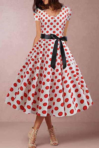 A Polka Dot Print Round Collar Dress