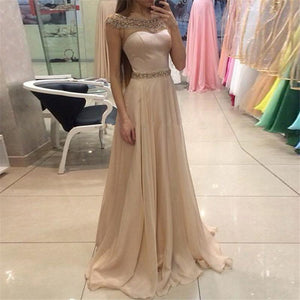 Sexy Round Collar Sleeveless Party Evening Dresses