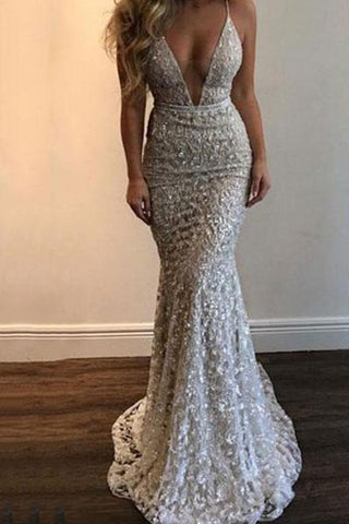 Sexy V-Neck Sling Lace Evening Dress