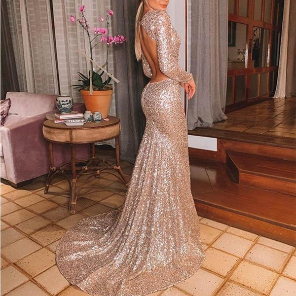 Fashion V Neck Pure Color Sequins Long Sleeve Evening Dress