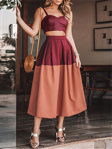 Women Sling Splicing Two Piece High Waist Dress
