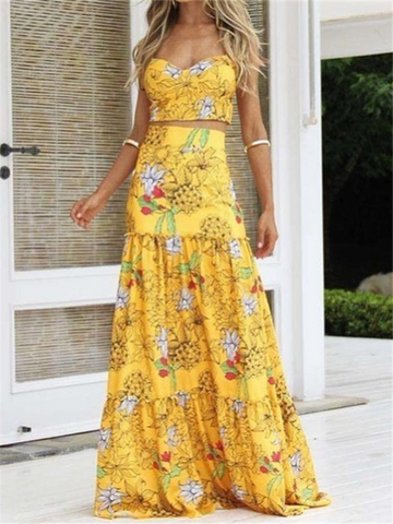 Women Sexy Printed Colour Braces Two Piece High Waist Dress