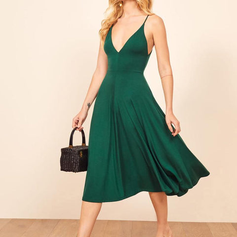 V-Collar Pure Color Sleeveless Sling Waist Skater Dress