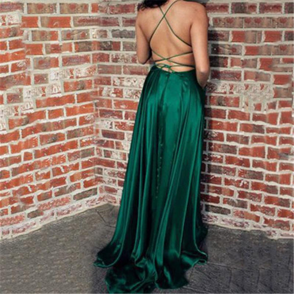 Sexy Suspension Pure Color Backless Evening Dresses
