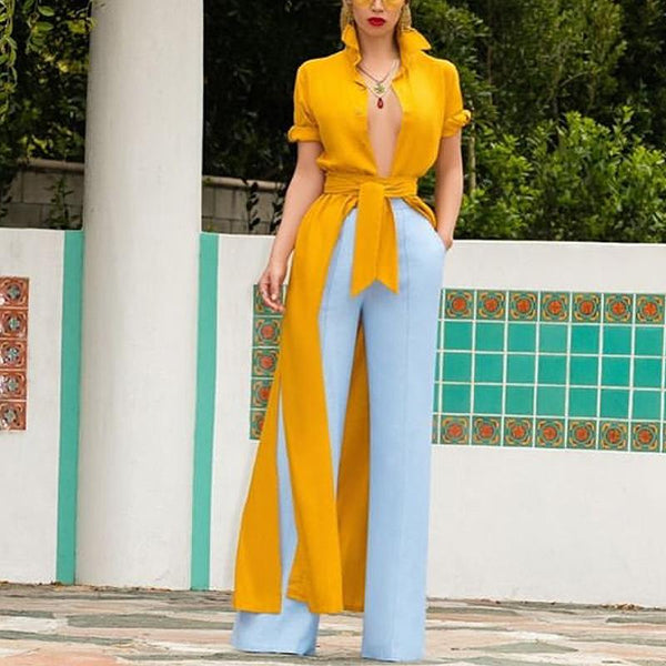 Fashion Pure Colour High-Waist Belted Turndown Collar Single-Breasted Suit