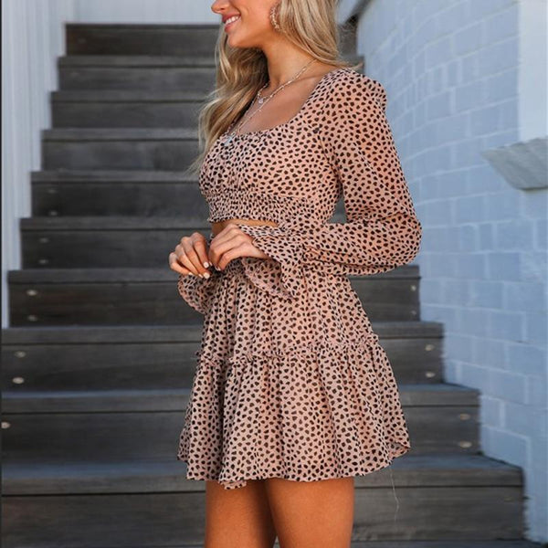 Square-Cut Collar Leopard Print Suit Pleated Skirt