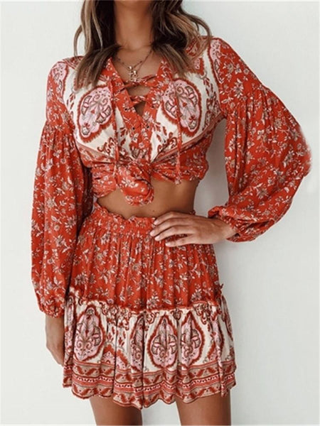 Sexy V-Neck Tie Printed Two-Piece Dress