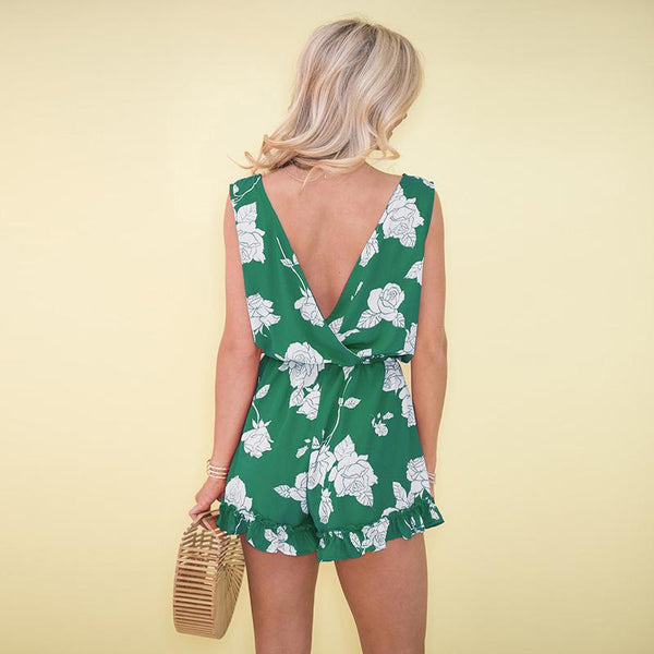 V Collar Open Back Sleeveless Printed Jumpsuit