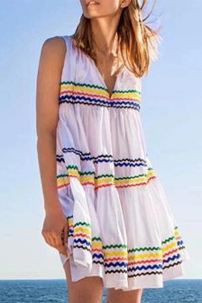 Casual V-Neck Sleeveless Striped Beach Dress