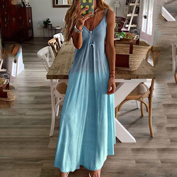 Women Sexy Spaghetti Strap Tie Maxi Loose Dress