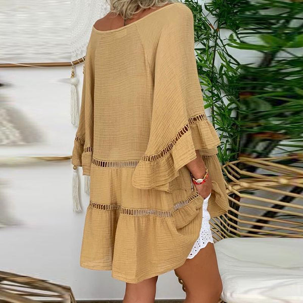Fashion Loose Trumpet Sleeve Solid Color Cutout Dress